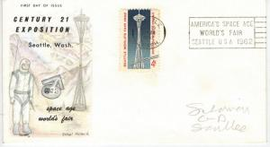 1962 Seattle World's Fair #1196 Space Needle Space Age Slogan on Glory FDC