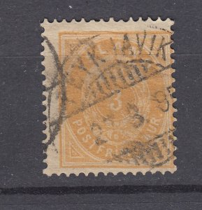 J29745, 1882-89 iceland used #15 perf 14 x 13 1/2
