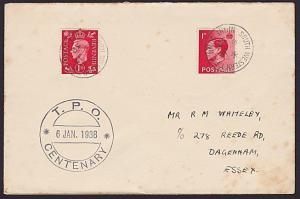 GB 1938 TPO Centenary cover : SOUTH WESTERN TPO NIGHT DOWN cds..............6420
