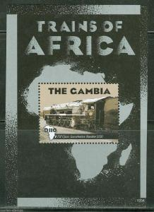 GAMBIA   2013 TRAINS OF AFRICA  SOUVENIR SHEET  MINT NH