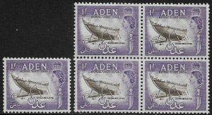 Aden #62 MNH Stamp - Dhow Building - Royal Visit - Wholesale X 5