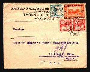 Yugoslavia 1920 Cover to USA (Cut Address) Light Creasing - Z16611