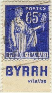 FRANCE - 1937 Pub BYRRH (vitalise) inférieure sur Yv.365b 65c Paix - obl. TB
