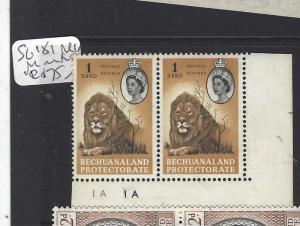 BECHUANALAND   (PP2110B) QEII  R1  LION SG 181 LR PLATE 1A PR  MNH