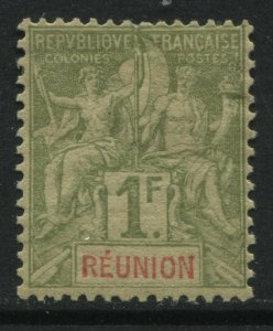 Reunion 1892 1 franc mint o.g.