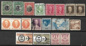 COLLECTION LOT #493 CANAL ZONE 19 STAMPS 1909+ CLEARANCE