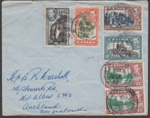 CEYLON 1948 commercial cover to New Zealand - mice franking.................F128