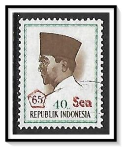 Indonesia #664 President Sukarno Surcharged Used