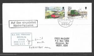 1989 Paquebot Cover, Isle on Man stamps mailed in Bremerhaven, Germany