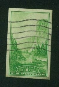 US 1935 1c green Yosemite Imperf Special Printing, Scott 756 used, Value = 25c