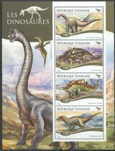 Togo MNH S/S Dinosaurs 2015 4 Stamps Must See!!!!!