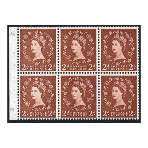 SB78 2d Light Red Brown Booklet Pane Wmk Edward Upright U/M