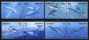 Kiribati 1998 Whales & Dolphins perf set of 8 (4 se-t...