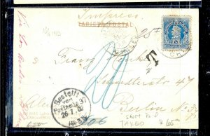 CHILE  (P3108B) 1902  5C COLUMBUS  ON PPC  VALPARAISO TO GERMANY SHORT PD, TAXED