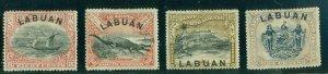 LABUAN #79-82, 8¢-24¢ hi vals in set, og, hinged, VF, Scott $204.50
