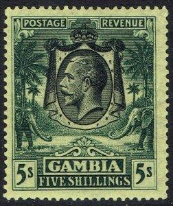 GAMBIA 1922 KGV ELEPHANTS 5/- WMK MULTI SCRIPT CA