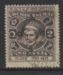 INDIA-COCHIN SGO71 1943 2a BLACK USED