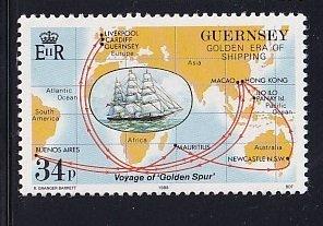Guernsey  #371  MNH  1988  voyage golden spur ship  34p