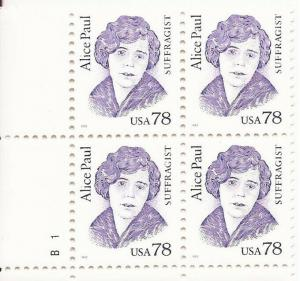 US Stamp 1995 Suffragist Alice Paul - Plate Block of 4 Stamps #2943
