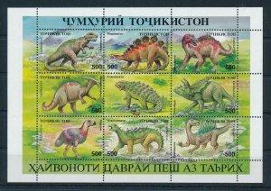 [106356] Tajikistan 1994 Prehistoric animals dinosaurs Stegosaurus Sheet MNH