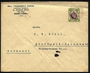 HONG KONG 1932 GV 20c on cover from Rhenish Mission to Germany.............95038