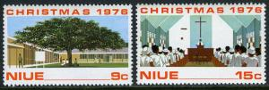 Niue 192-193, MI 169-170, MNH. Christmas. Tree, Building, Avatele Church, 1976