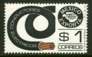 MEXICO Exporta 1116Var $1P Electr Conductor 37mm Paper 7 MNH