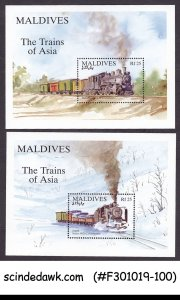 MALDIVES - 1994 THE TRAINS OF ASIA / RAILWAY - SET OF 2 MINIATURE SHEET MNH