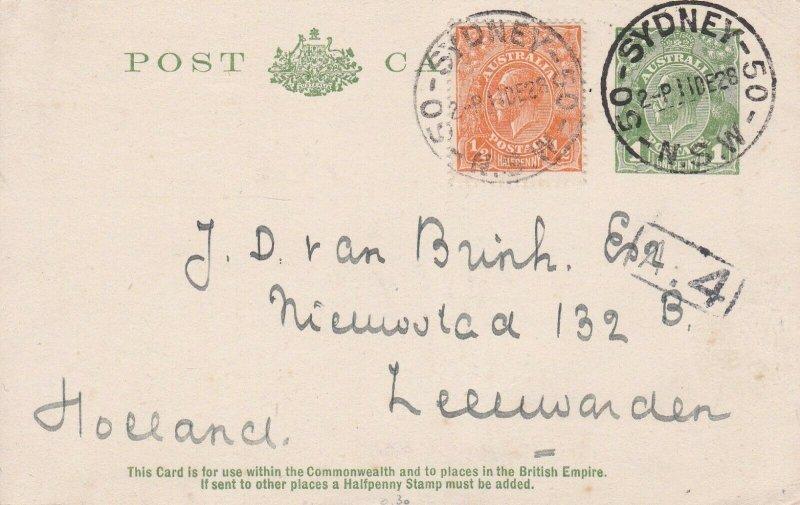 APS185) Australia 1928 1d green KGV pre-stamped postcard (die III) on off-white