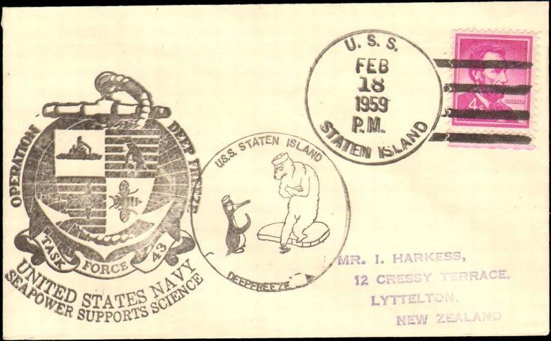 1959 USS STATEN ISLAND WITH ANTARCTIC CACHETS