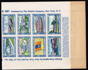 US STAMP 1939 NEW YORK WORLDS FAIR SHEET OF 54 POSTER STAMPS MNH/OG SHEET FRESH