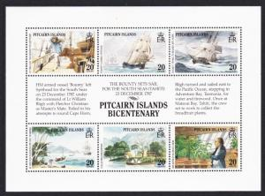 Pitcairn Bicentenary of Pitcairn Island Settlement 1st issue 6v Sheetlet