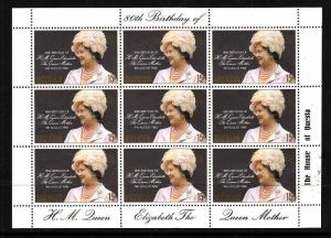Ascension-Sc#261-unused NH sheet of 9-Queen Mother-1980-