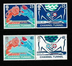 1994 Opening of Channel Tunnel Set in Pairs Superb Unmounted Mint