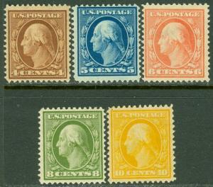EDW1949SELL : USA 1908-09 Scott #334-38 Fine-Very Fine MOG Fresh stamps Cat $252