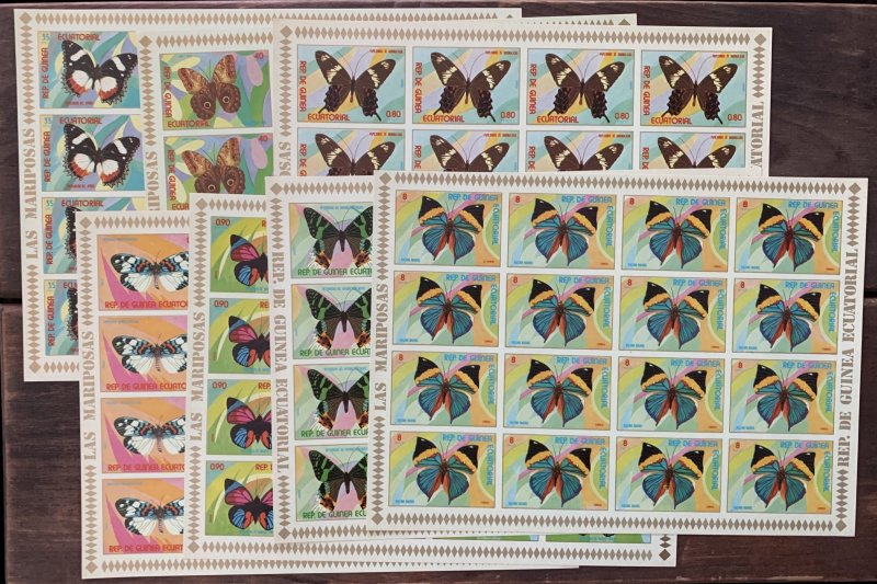 Equatorial Guinea 1976 Butterflies in imperforate sheets of 16, MNH