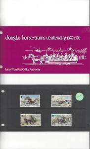 Isle of Man 82-5 Horse Trams Centenary 1976 MNH Presentation Pack