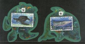 Thailand 2019 WWF Turtle Whale Marine Life Odd Shapped M/s MNH # 5553