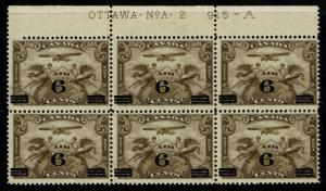 Canada SC# C3, Plate Block of 6, Mint Hinged, see notes - S2346
