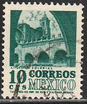 MEXICO 876a, 10cents 1950 Definitive 2nd Ptg wmk 300 REDRAWN USED F-VF. (124)