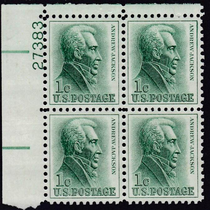 United States 1963 Plate Number Block Scott 1209 1c green Andrew Jackson  VF/NH