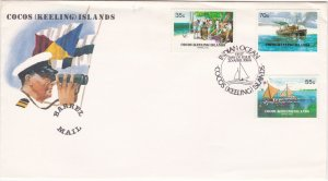 Cocos Islands # 111-113, Barrel Mail 75th Anniversary, First Day Cover