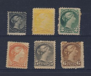 6x Canada Small Queen Mint Stamps #34-35-36-37-42-43 Guide Value = $275.00