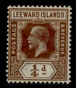 LEEWARD ISLANDS SG58, ¼d brown, LH MINT.