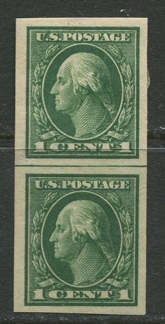 USA- Scott 408 - Imperforate - 1912 - MH - Verticle Green Line Pair 2 X 1c Stamp