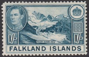 Falkland Islands KGVI 1938 1/- 1s Dull Blue SG158b Mint Lightly Hinged
