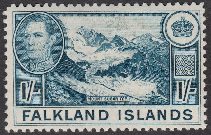 Falkland Islands KGVI 1938 1/- 1s Dull Blue SG158b Mint Lightly Hinged