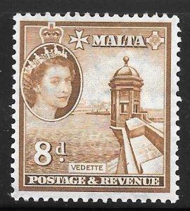 Malta 255: 8d Vedette, MH, F-VF
