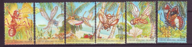 J16511 JLstamps 1995 cocos islands set mnh #302a-e-303 insects