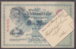 Germany Sc 67 on 1906 German Banknote PPC